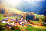 Colorful autumn scenery in Santa Maddalena village at sunrise. Dolomite Alps, South Tyrol, Italy. - 176274974
