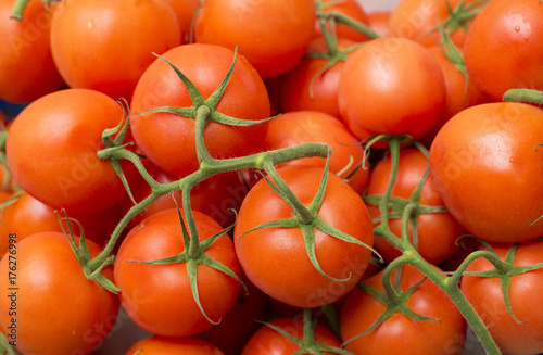 Red tomatoes at the supermarket - Solanum lycopersicum