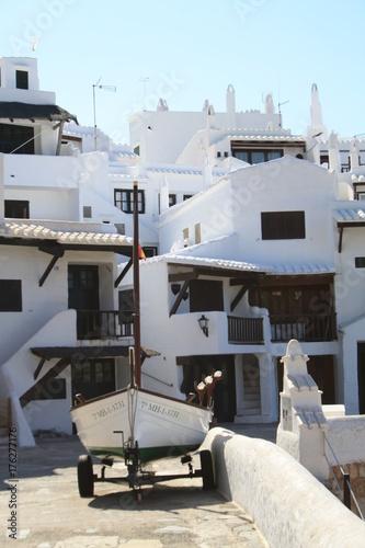 Foto op Aluminium Santorini viaggi architettura barca mare isola abitazione bianco