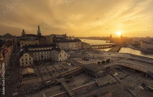 Fotobehang Stockholm Sunset in Stockholm
