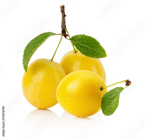 Fotobehang Kersen cherry plums isolated on a white background