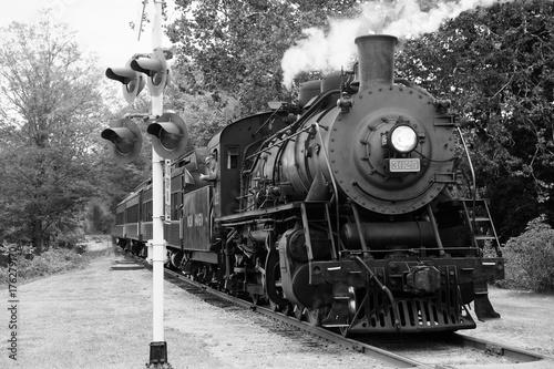 Fototapeta Steam train 10 in black and white