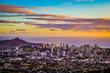 Aerial Purple and Gold Sunset Above Honolulu Skyline in Hawaii