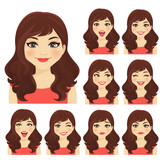Woman with different facial expressions set isolated - 176287748