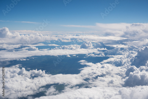blue sky with the clouds from the plane view