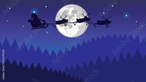 Foto op Canvas Violet xmas reindeers flies over the night forest