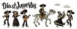 Dia de los Muertos. The skeleton in Mexican national costumes - 176302781