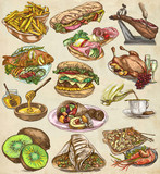 Food. Freehands, hand drawn collection. Line art. - 176302795