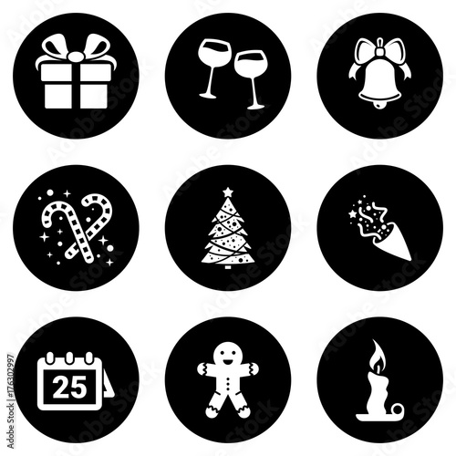 Set of simple icons on a theme holiday, christmas, new year, vector, design, collection, flat, sign, symbol,element, object, illustration, isolated. White background