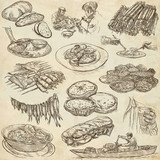 Food. Freehands, hand drawn collection. Line art. - 176303190