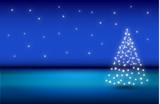 Sfondo natalizio con albero di stelle luminose - 176304304