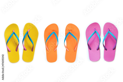 33d0f09796d1 Yellow Orange Pink flip flops isolated on white background. Top view ...