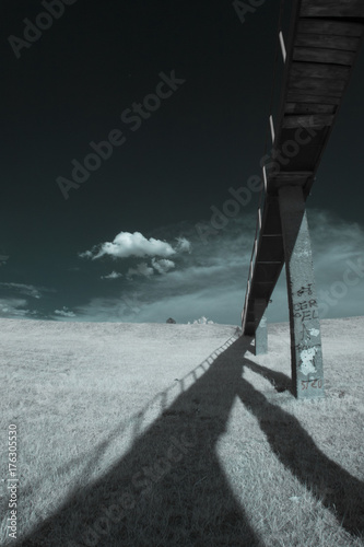 Aluminium Grijze traf. Infrared landscape with shadows and details