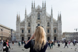 blonde girl in front of Milan Cathedral - 176307977