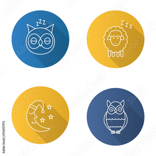 Keuken foto achterwand Uilen cartoon Nighttime flat linear long shadow icons set