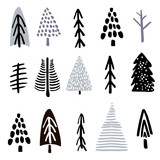 Collection christmas trees made with ink. Creative tree silhouette collection. Vector illustration - 176308795