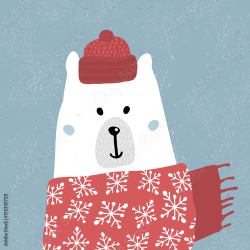 Cute winter polar bear in scarf and hat. Holiday and christmas illustration. It can be used for greeting card, posters, apparel - 176308728