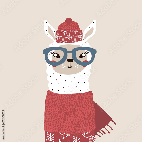 Cute winter lama in scarf and hat. Holiday and christmas illustration. It can be used for greeting card, posters, apparel - 176308739