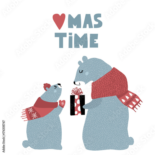 Cute winter greeting background with polar bears. Holiday and christmas illustration. It can be used for greeting card, posters, apparel - 176308767