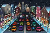 City Scene with Traffic at Night Illustration - 176309171