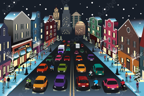 Fotobehang Auto City Scene with Traffic at Night Illustration