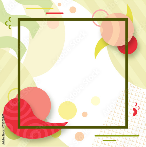 Fotobehang Vintage Poster Abstract color poster in trendy style with geometric shapes, lines, fashion bright background, banner, cover, green ans red colors, vector illustration