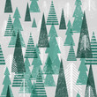 Seamless vector winter forest pattern. Christmas background. Green trees in clouds. Grunge texture graphic simple elements.