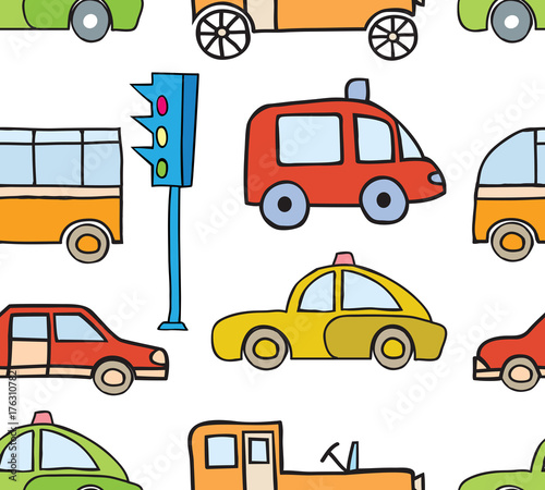 Fotobehang Auto Cartoon cars seamless