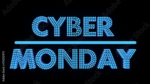 Cyber monday glowing text on black backgound, 3d render.