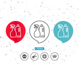 Cleaning spray and Shampoo line icon. Cleanser. - 176317170