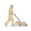 Gardener Mowing Lawnmower Drawing