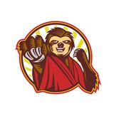 Sloth Fighter Self Defense Circle Mascot - 176319501