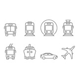 Public and commercial transport simple icons outline silhouette set