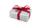 gray gift box red ribbon isolated on white background, using for christmas and new year or holiday other.