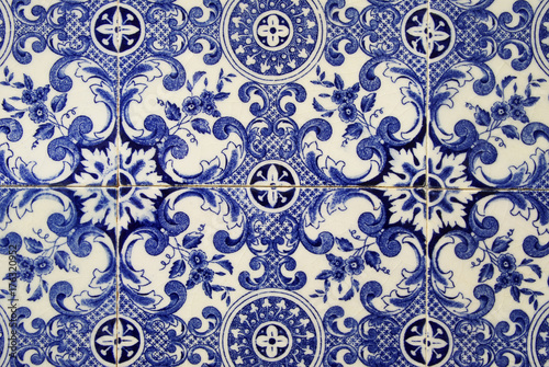 Traditional portuguese tile. Blue Poster