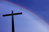Spectacular rainbow above Christian Cross - 176321728