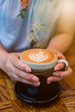 cup of hot coffee in the cafe for morning drink - 176329128