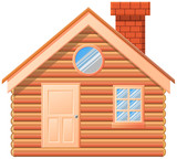 Wooden cabin with chimney vector image - 176332171
