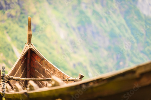 Poster Schip Part of old wooden viking boat in norwegian nature