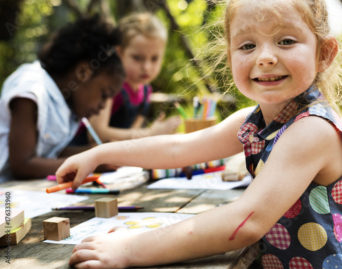 Group of children drawing imagination outdoors Poster