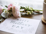 Ranunculus Flowers Bouquet with Happy Mothers Day Wishing Card - 176335334