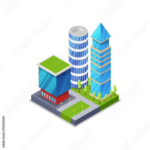 Urban street with houses isometric 3D icon. Skyscrapers, apartment, office and streets objects. Low poly buildings vector illustration.