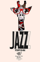 Giraffe with sunglasses - jazz poster © Isaxar