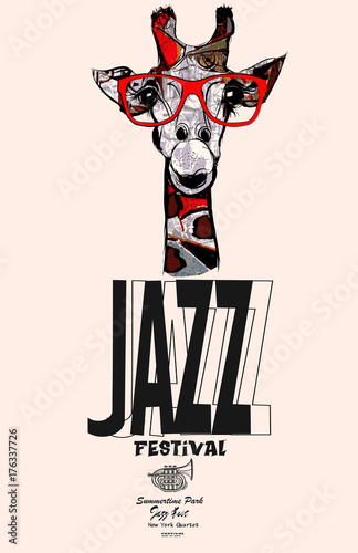 Deurstickers Art Studio Giraffe with sunglasses - jazz poster