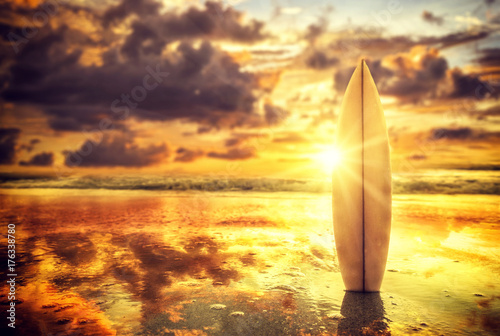 Surfboard on the beach at sunset Poster