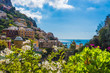 Quadro Positano (Campania, Italy) - A very famous touristic summer town on the sea in southern Italy, province of Salerno, Amalfi Coast