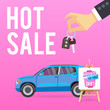 Car sale banner. Vector illustration with cartoon-style car. Blue suv on pink background