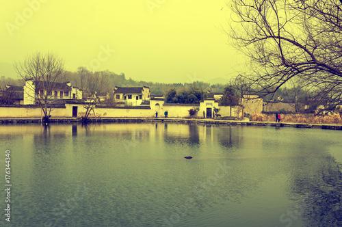 Deurstickers Zwavel geel Chinese town of Hongcun