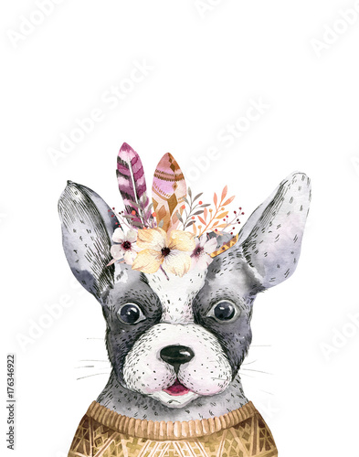 Watercolor closeup portrait of cute dog. Isolated on white background. . Hand drawn sweet home pet. Greeting card animal nursary design decoration - 176346922