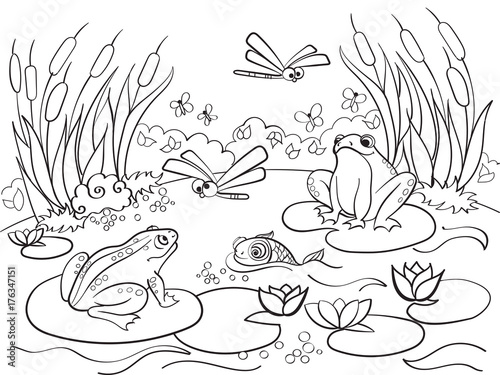 Plexiglas Zoo wetland landscape with animals coloring raster for adults